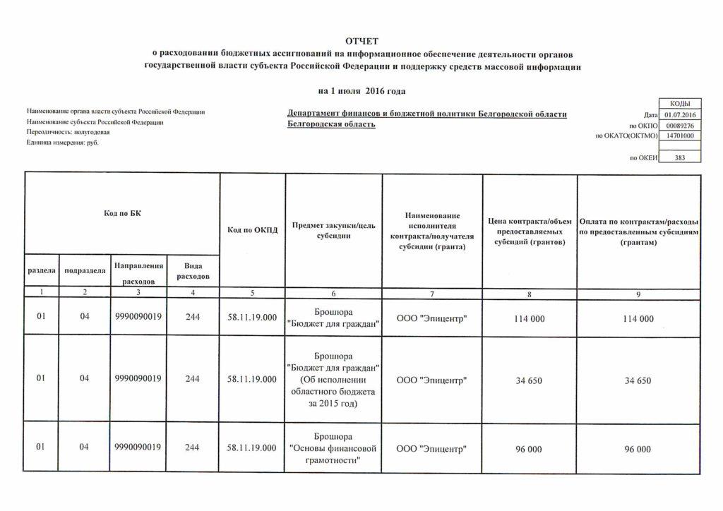 Отчет о расходовании бюджетных ассигнований на информационное обеспечение деятельности и поддержку средств массовой информации на 1 июля 2016 года